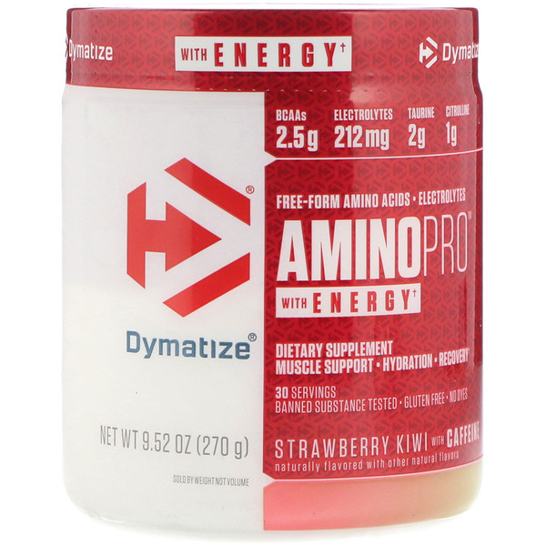 Dymatize Nutrition, AminoPro with Energy, клубника, киви, с кофеином, 9,52 унц. (270 г) (Discontinued Item)