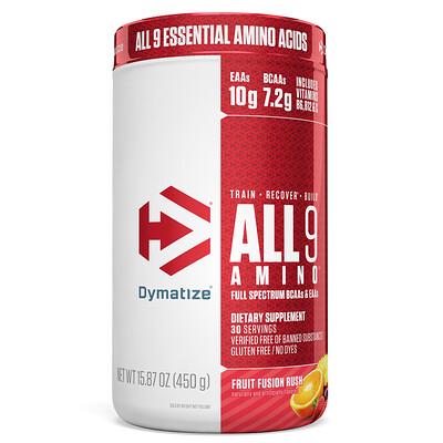 Купить Dymatize Nutrition All 9 Amino, фруктовый вкус, 15, 87 (450 г)