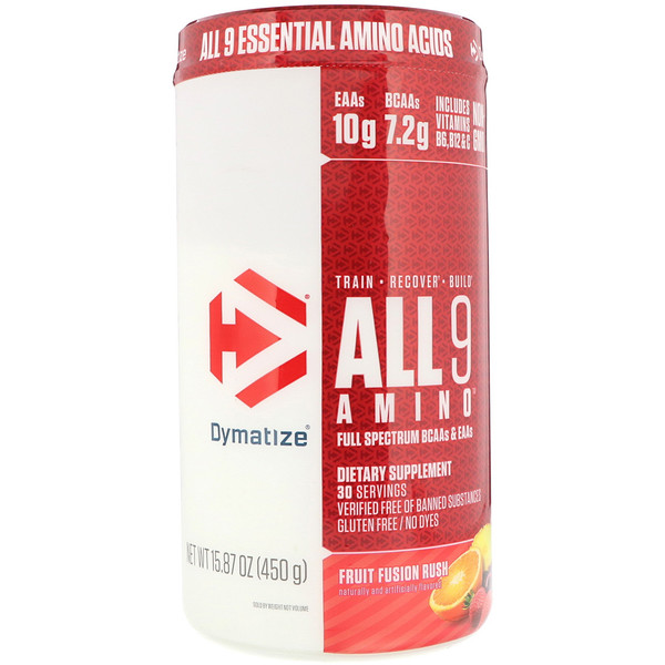 Dymatize Nutrition, All 9 Amino, Fruit Fusion Rush, 15.87 (450 g)