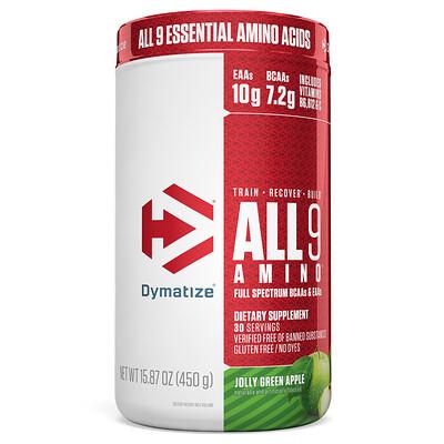 Купить Dymatize Nutrition All 9 Amino, Веселое зеленое яблоко, 15, 87 унц. (450 г)