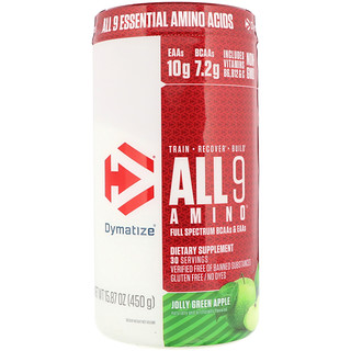 Dymatize Nutrition, All 9 Amino, Jolly Green Apple, 15.87 oz (450 g)