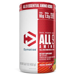 Dymatize Nutrition, ALL9AMINO، بنكهة البرتقال والتوت البري، 15.87 أونصة (450 جم)