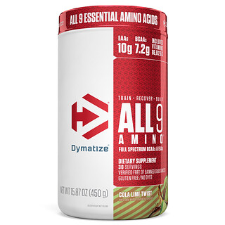 Dymatize Nutrition, ALL9AMINO, Cola Lime Twist, 15.87 oz (450 g)