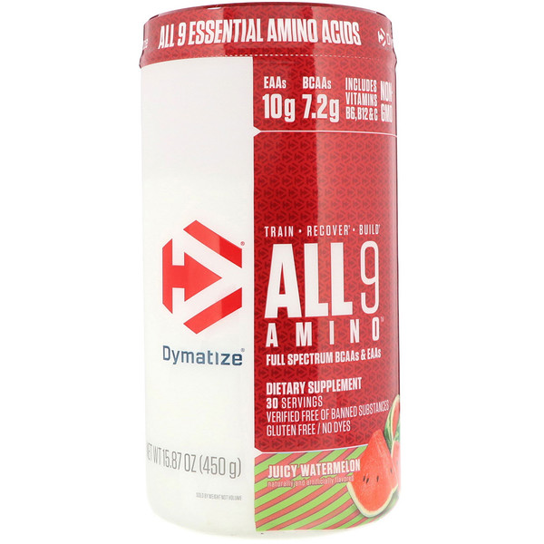 Dymatize Nutrition, ALL9AMINO, Juicy Watermelon, 15.87 oz (450 g)