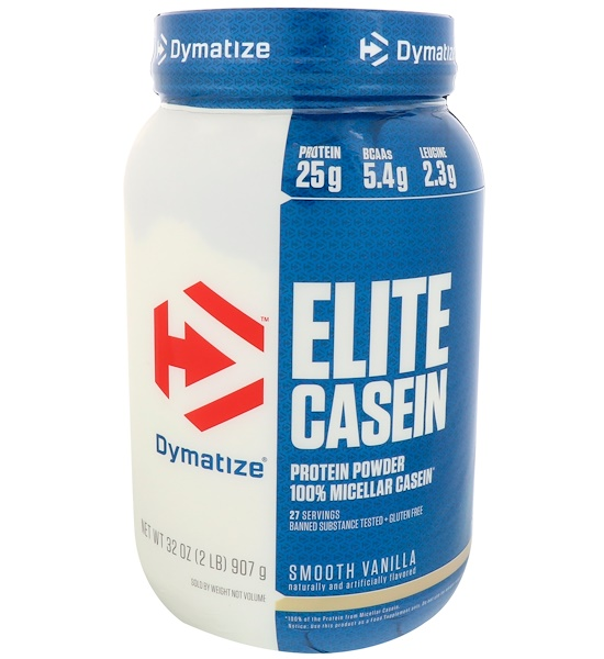 Dymatize Nutrition, Elite Casein, Smooth Vanilla, 2 lbs (907 g) (Discontinued Item)
