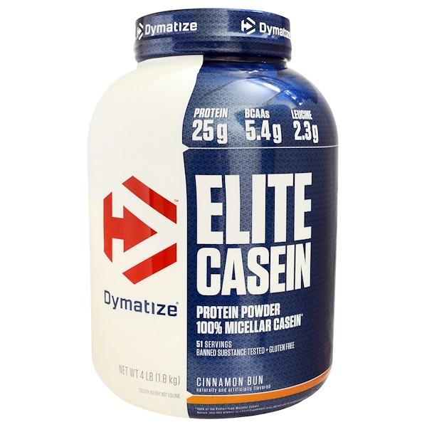 Dymatize Nutrition, Elite Casein, 100% Micellar Casein, Cinnamon Bun, 4 lb (1、8 kg)