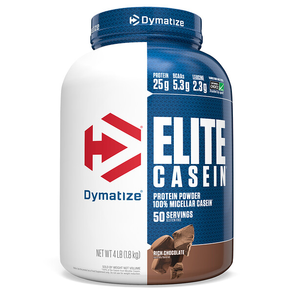 Dymatize Nutrition, Elite Casein, Rich Chocolate, 4 lbs (1.8 kg)