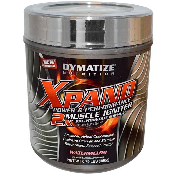 Dymatize Nutrition, Xpand 2x, Предтренировочная формула для роста мышц, арбуз 0.79 фунтов (360 г) (Discontinued Item)
