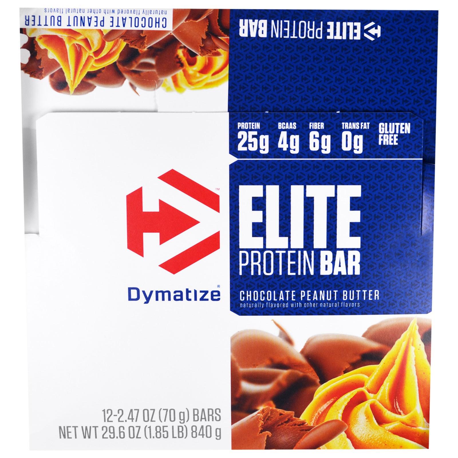 Dymatize Nutrition, Elite,  Белковый Батончик, Шоколадное Арахисовое Масло, 12 штук, по 2,47 унции (70 г) каждая