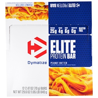 Dymatize Nutrition, Elite Protein Bar, Peanut Butter, 12 Bars, 2.47 oz (70 g)