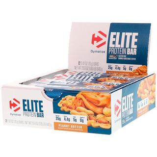 Dymatize Nutrition, Elite Protein Bar, Peanut Butter, 12 Bars, 2.47 oz (70 g) Each