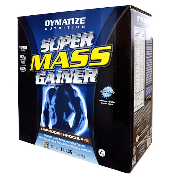 Dymatize Nutrition, Super Mass Gainer, Hardcore Chocolate, 12 lbs (5,443 g) (Discontinued Item)