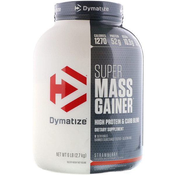 Dymatize Nutrition, Dymatize, Super Mass Gainer, Strawberry, 6 lbs (2.7 KG)