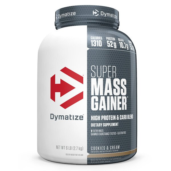 "Dymatize Nutrition, Super Mass Gainer, עוגיות וקרם, 2.7 ק""ג (6 lbs)"