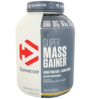 Dymatize Nutrition, Super Mass Gainer, Sugar Cookie, 6 lbs (2.7 kg)