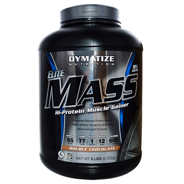 Dymatize Nutrition, Elite Mass, Hi-Protein Muscle Gainer, Double Chocolate, 6 lbs (2,722 g) (Discontinued Item)
