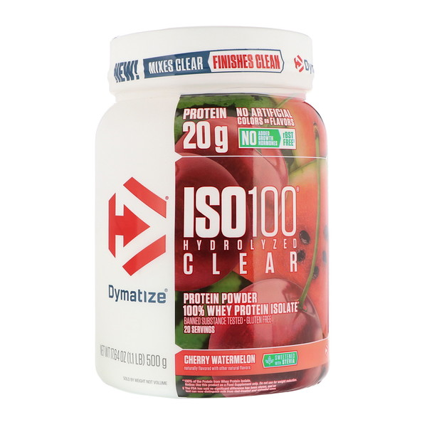 Dymatize Nutrition, ISO100 Hydrolyzed Clear, 100% Whey Protein Isolate, Cherry Watermelon, 1.1 lb (500 g)