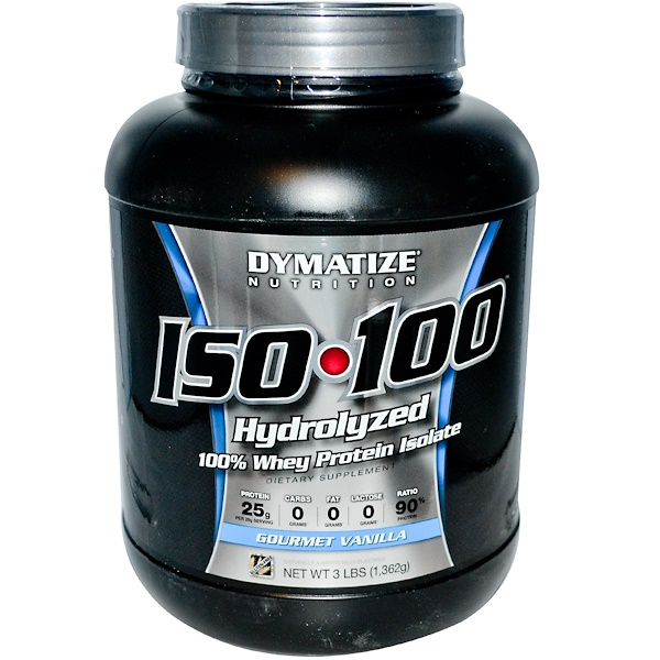 Dymatize Nutrition, Iso•100, 100% Whey Protein Isolate, Gourmet Vanilla, 3 lbs (1,362 g) (Discontinued Item)
