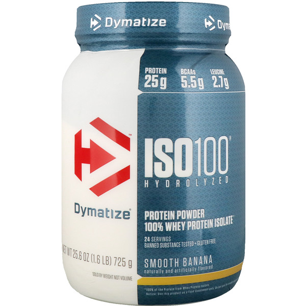 Dymatize Nutrition, ISO100 Hydrolyzed, 100% Whey Protein Isolate, Smooth Banana, 1.6 lbs (725 g)