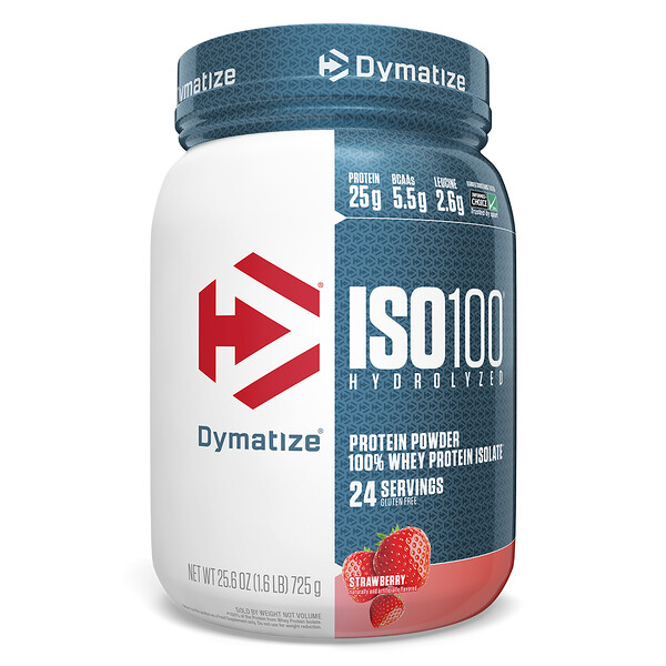 ISO 100 Hydrolyzed, 100% Whey Protein Isolate, Strawberry, 25.6 oz (725 g)