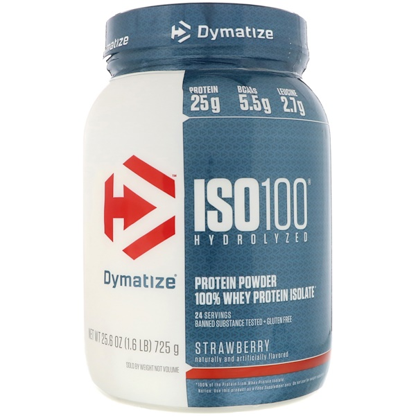 Dymatize Nutrition, ISO 100 Hydrolyzed, 100% Whey Protein Isolate, Strawberry, 1.6 lbs (725 g)