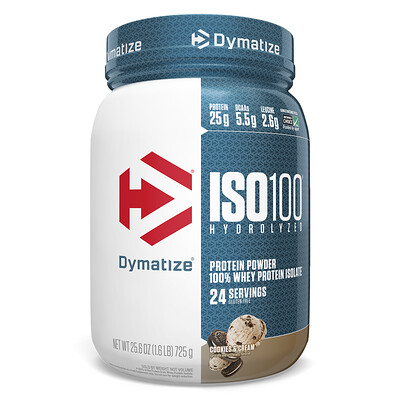 Купить Dymatize Nutrition ISO 100 Hydrolyzed 100% Whey Protein Isolate, Cookies & Cream, 25.6 oz (725 g)