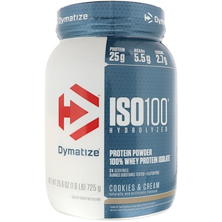 Dymatize Nutrition, ISO 100 Hydrolyzed, 100% Whey Protein Isolate, Cookies & Cream, 25.6 oz (725 g)