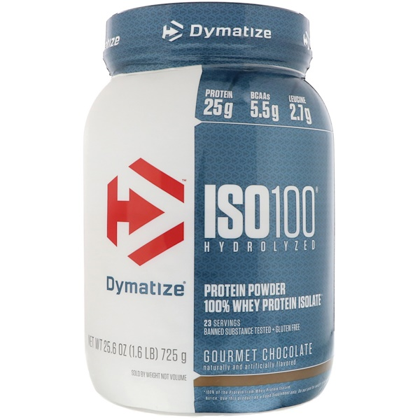 Dymatize Nutrition, ISO 100 Hydrolyzed, 100% Whey Protein Isolate, Gourmet Chocolate, 25.6 oz (725 g)