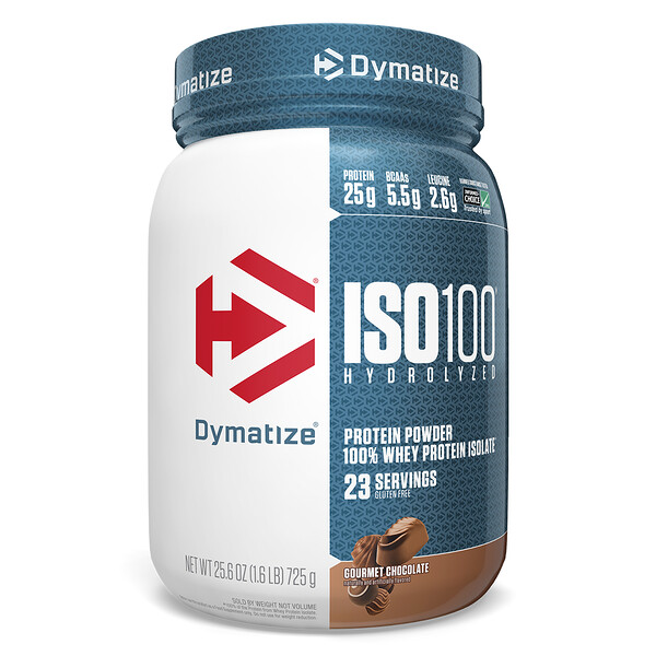 Dymatize Nutrition, ISO 100 Hydrolyzed, 100% Whey Protein Isolate, Gourmet Chocolate, 1.6 lbs (725 g)