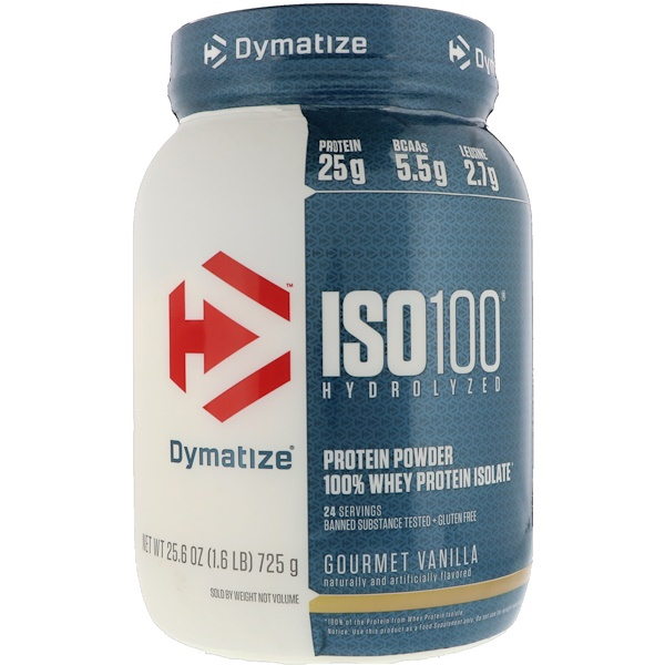 Dymatize Nutrition, ISO 100 Hydrolyzed 100% Whey Protein Isolate, Gourmet Vanilla, 25、6 oz (725 g)