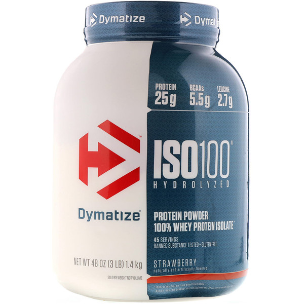 Dymatize Nutrition, ISO 100, Hydrolyzed 100% Whey Protein Isolate, Strawberry, 3 lbs (1.4 kg)