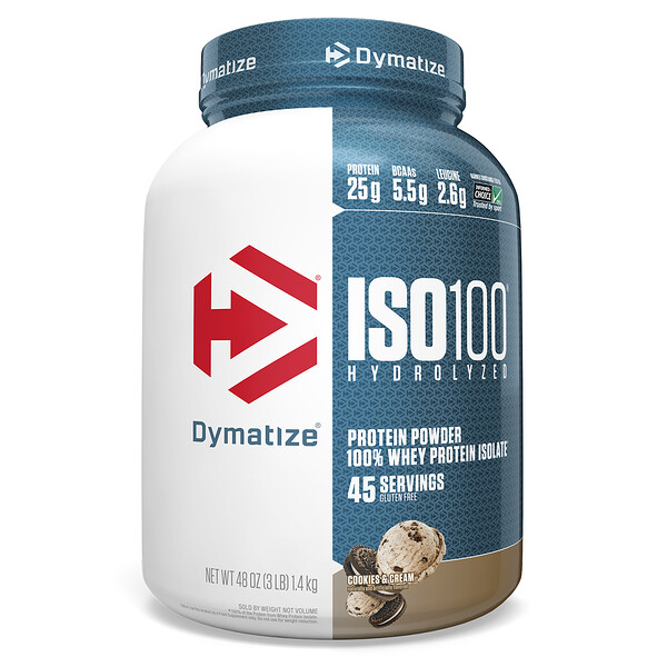 ISO 100 Hydrolyzed 100% Whey Protein Isolate, Cookies & Cream, 3 lbs (1.36 kg)
