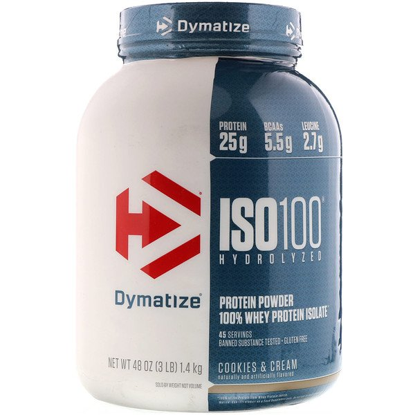 Dymatize Nutrition, ISO 100 Hydrolyzed 100% Whey Protein Isolate, Cookies & Cream, 3 lbs (1.36 kg)
