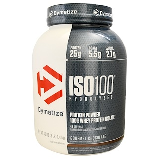 Dymatize Nutrition, ISO 100, Hydrolyzed, 100% Whey Protein Isolate Powder, Gourmet Chocolate, 48 oz (1,36 kg)
