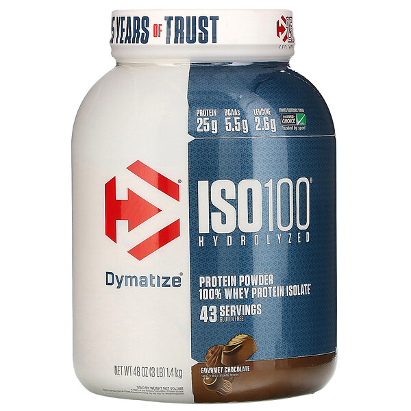 ISO 100 Hydrolyzed, 100% Whey Protein Isolate, Gourmet Chocolate, 3 lb (1.4 kg)
