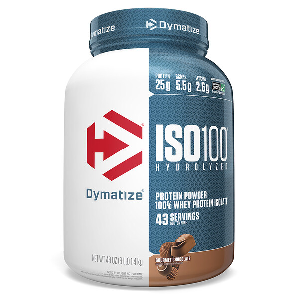 Dymatize Nutrition, ISO 100 Hydrolyzed, 100% Whey Protein Isolate, Gourmet Chocolate, 3 lb (1.4 kg)