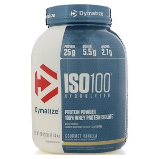 Dymatize Nutrition, ISO 100, Hydrolyzed, 100% Whey Protein Isolate, Gourmet Vanilla, 48 oz (1.4 kg)