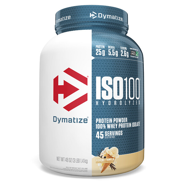 ISO100 Hydrolyzed, 100% Whey Protein Isolate, Gourmet Vanilla, 3 lb (1.4 kg)