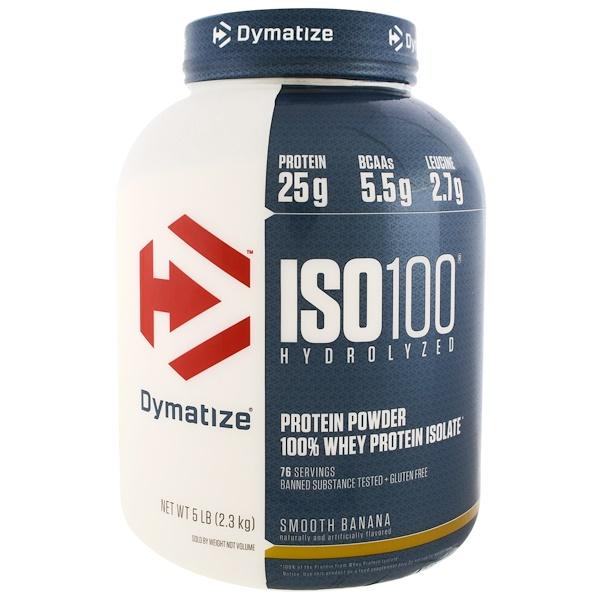 Dymatize Nutrition, ISO 100水解,100%乳清蛋白分離物,光滑香蕉,5磅(2、27千克)