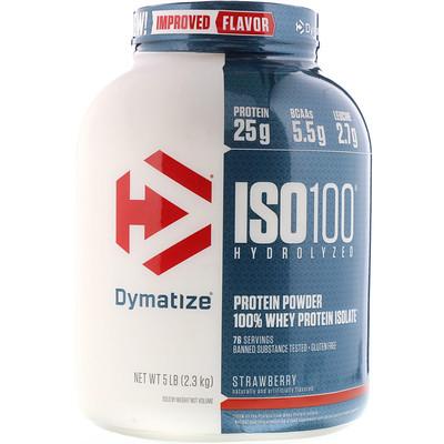 Купить ISO100 Гидролизованный 100% изолят сывороточного протеина, клубника, 2, 3 кг (5 фунтов)