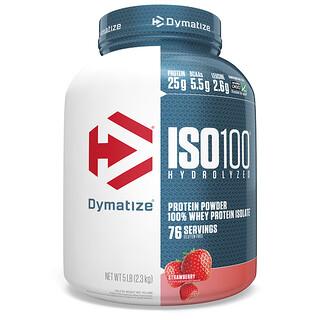 Dymatize Nutrition, ISO100 المتحلل، بروتين شرش اللبن المعزول بنسبة 100%، نكهة الفراولة، 5 رطل (2.3 كجم)