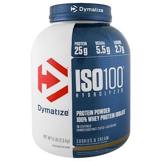 Dymatize Nutrition, ISO100 гидролизованный, 100% изолят сывороточного белка, печенье со сливками, 5 фунтов (2,3 кг)