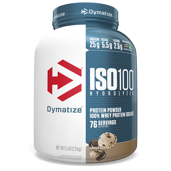 ISO100 Hydrolyzed, 100% Whey Protein Isolate, Cookies & Cream, 5 lbs (2.3 kg)