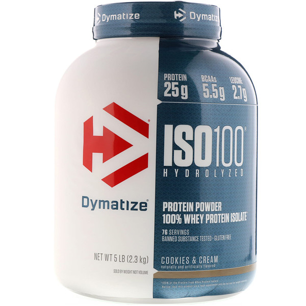 Dymatize Nutrition, ISO100 Hydrolyzed, 100% Whey Protein Isolate, Cookies & Cream, 5 lbs (2.3 kg)