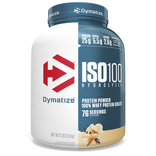 Dymatize Nutrition, ISO100 Hydrolyzed, 100% Whey Protein Isolate, Gourmet Vanilla, 5 lbs (2.3 kg)
