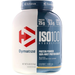 Dymatize Nutrition, ISO100 Hydrolyzed, 100% Whey Protein Isolate, Gourmet Vanilla, 5 lbs (2.3 kg)