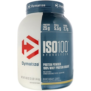 Dymatize Nutrition, ISO 100 Hydrolyzed, 100% Whey Protein Isolate, Birthday Cake, 48 oz (1.4 kg)