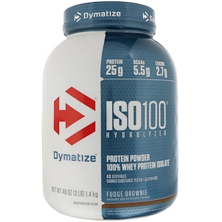 Dymatize Nutrition, ISO 100 Hydrolyzed, 100% Whey Protein Isolate, Fudge Brownie, 3 lbs (1.4 kg)