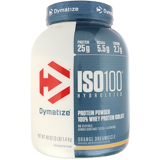 Dymatize Nutrition, ISO 100 Hydrolyzed, 100% Whey Protein Isolate, Orange Dreamsicle, 3 lbs (1.4 kg)