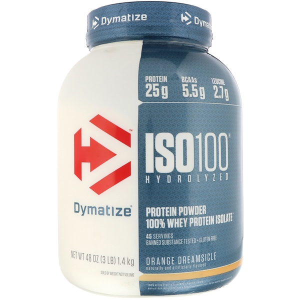 :Dymatize Nutrition, ISO 100 Hydrolyzed 100% Whey Protein Isolate, Orange Dreamsicle, 48 oz (1、4 kg)